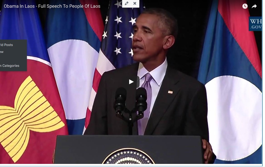Obama mentions Sinxay in his speech in Vientiane, Laos!